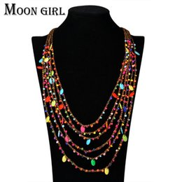 Bohemia style beads pendant Choker necklace classic ethnic summer jewelry multilayer Rope chain statement necklace for women
