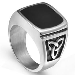 Size 7-15 Titanium Stainless Steel Black Onyx Enamel Signet Ring Celtic Tribal Biker Cocktail School Husband