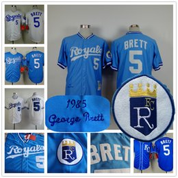 Wholesale Kansas City Royals George Brett Jersey Cooperstown Baby Blue White Vintage
