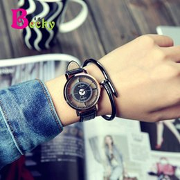 Fashionable Personality Simple Leather belt Large dial Hollow Teens Boy Girl Lady Watches