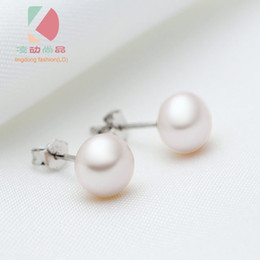 lingdong fashion brand 925 sterling silver inlaid round freshwater pearl earring 8mm pearl free shipping
