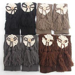 Wholesale-new design top quality women leg warmers for lady girls crochet lace knit tassels boot socks winter warm accessory 5pcs lot