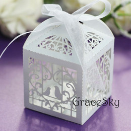 50pcs Laser Cut Birds in Cage Design Chocolate Candy Paper Boxes Elegant for Wedding Party Candy Paper Boxes Table Decoration,Free shipping