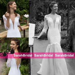 Wholesale 2016 Swoon Worthy New Sexy Mermaid Wedding Dresses Noya Bridal Gowns for Fun Chic Brides Wear Sale Sheer Back Beaded Fit Flare Elegant Gowns