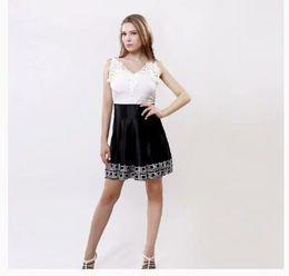 Brazil the new 2016 strap sleeveless retro black and white v-neck lace dress a short summer dress