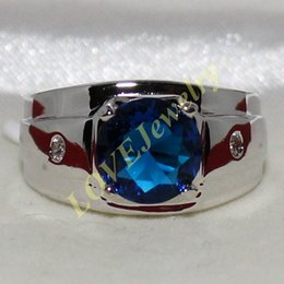 Handmade 925 Silver Round Blue Sapphire CZ Gem Stone Solitaire Eternity Ring for Men