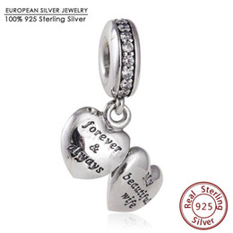 Wholesale Mother s Day My Beautiful Wife Charm Beads Fits definew Bracelets Authentic Sterling Silver Dangle Heart Bead Diy Jewelry