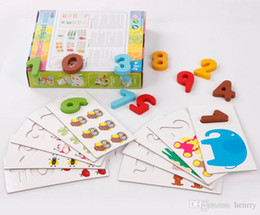 Wooden count digital card. 3-year-old children's toys, digital paired digital puzzle. Early Learning Enlightenment understanding of dig