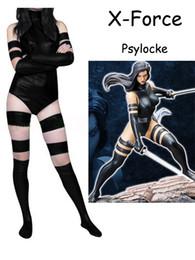 Black X Force Psylocke Costume Shiny Metallic Zentai X-men Female Women Halloween Party Cosplay Suit