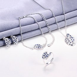 Wholesale Hot sale fashion silver feather necklace bracelet earring ring a famliy of four jewelry sets STSS074A sterling silver blue gemstone