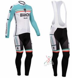 Wholesale Winter Bianchi Cycling Jersey Sets Long Sleeve Cycling Clothes Italy Milano Cycling Tops Gel Padded Trousers Bike Suit Tracksuits XXS XL