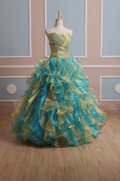2016 New Elegant Gold Blue Multi Quinceanera Dresses Ball Gowns With Organza Ruffles Beading Sweet 15 Dresses Prom Party Quinceanera Gowns