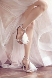 Wholesale Stunning silver wed shoes rihinestone high heels ankle strap women s wedding bridal sandal shoes with fur tassel fringe