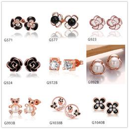 Burst models 10 pairs mixed style women's bear pearl flower crystal gemstone 18k rose gold earring GTG82,cheap rose gold stud earrings