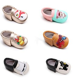 Wholesale New Baby Tassels Moccasins shoes Soft bottom infant cartoon Snowman Christmas Tree SpiderMan cars cat Shoes PU leather Baby First Walkers DH