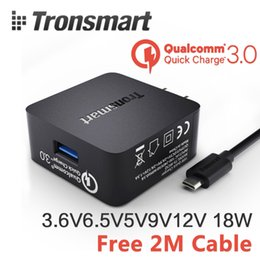 Wholesale-Tronsmart 18W Quick Charge 3.0 USB Turbo Wall Charger Travel Charger Adapter (Included Micro Cable)