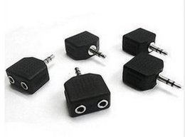 Wholesale Black Color mm Jack to Double Earphone Headphone Y Splitter Cable Cord Adapter Plug for MP3 Phone