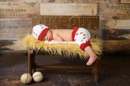 Wholesale Newborn Baby Photography Prop Crochet Knitted Costume Baseball Sport Beanie caps Pants Set animal backpack