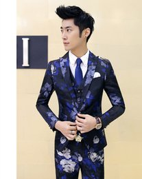 Wholesale Spring Korean Slim Floral Suit Suit Three TidePersonalityMen s Hair Stylist Small Suit Nightclub Bar Performance Service