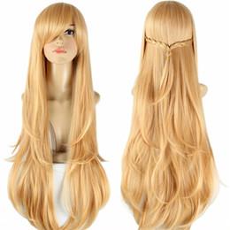 Аниме искусство для продажи-Меч искусства онлайн косплей парик жаропрочных синтетических парики с челкой прямой asuna yuuki кос парик долго аниме парики для женщин 100 см