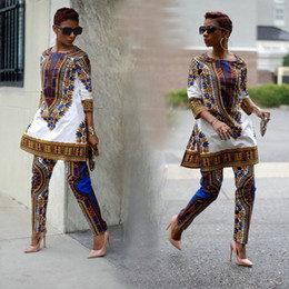 Wholesale 2016 New African fashion design Dress Suit S XL Plus Size Womens Traditional Print Dashiki National Half Sleeved Two Pieces Set Jumpsuits