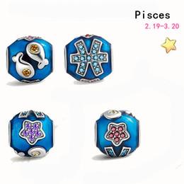 Wholesale sterling silver Zodiac vintage crystal pendant DIY spacer beads fit Pandora Bracelets Bangles jewelry