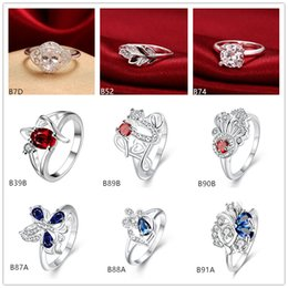 Brand new mixed style fashion gemstone 925 silver plate ring EMGR28,fish butterfly plated sterling silver ring 10 pieces a lot