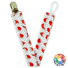 06)120pcs lot)free shipping baby boutique wholesale christmas santa hat print pacifier clip