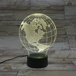 Wholesale Bulbification D LED Light Lamp With D Wire Frame Earth Images Color Changing Lamp globe Craft D Lamp Decoration Lamps
