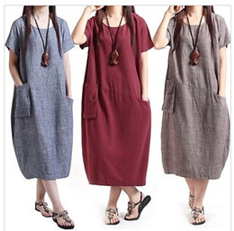 Wholesale Women Dresses Casual Women Cotton Linen Short Sleeve Long Loose Maxi Dress Sundress Clothes Free Shipping