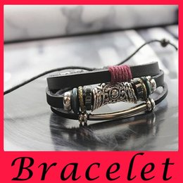 Wholesale Antique Leather Bracelet Leather woven Bracelet Fashion jewelry Pure handmade Leather Beaded Bracelet Leather European Beaded Leather geomet