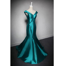 EvenWedding V Neck Heavy Satin Mermaid Evening Dress Peacock 2016 Lace Up Evening Gowns Fast Shipping