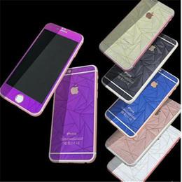 Acheter en ligne Plaque d'écran-3D Rhombus diamant losange film de peau de corps entier pour iphone 7 avant + arrière verre trempé plaqué protecteur autocollants pour iphone 5 6 7 plus