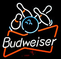 "Budweiser Bowling Neon Sign Real Glass Custom Handmade Beer Bar Store Pub Club Game Room Sport Advertising Display Neon Signs 24""x24"""