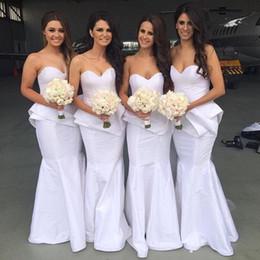 2016 New White Sweetheart Mermaid Wedding Guest Dress Bridesmaid Dresses Floor Length Women Maid of Honor Dresses