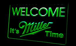 Ls257-g Welcome Miller Time Beer Neon Light Sign