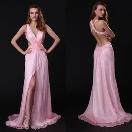 Sexy Design A Line v Neck Sweep Train Pink Chiffon Backless Prom Dresses With Appliques High Split Party Evening Women Dresses