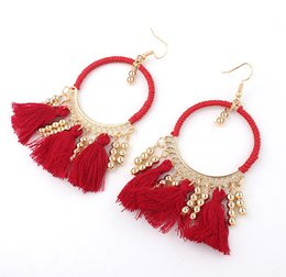 Wholesale&Retail New 2016 Women's FH HOOK Earrings Red Blue Black Beige Colors Women Wrap Thread Big Hoop Tassel Earring Free Shipping