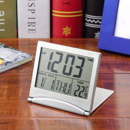 Wholesale Fold Alarm Clock with Calendar Date Time Temperature Flexible Mini Desk Cover Clock Digital LCD Thermometer Silver Table Clock for Travel