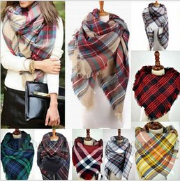 Wholesale Women Grid Scarves Tartan Plaid Scarf Oversized Check Shawl Lattice Cozy Wraps Fashion Fringed Cashmere Blankets Tassel Pashmina Gifts B1096