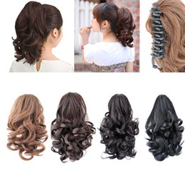 Wholesale 12 quot Natural Short Synthetic Ponytails Claw Drawstring Pony Tail Color Horse Tress Curly Hairpieces Afro False Hair Extensions