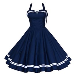 Wholesale 2016 Women s s VTG Retro Nautical Sailor Rockabilly Hepburn Pinup Swing Dress
