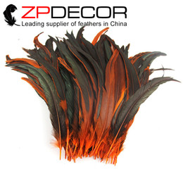 Wholesale Leading Supplier ZPDECOR Good Quality cm inch Part Dyed Orange Real Rooter Tail Feathers for DIY Craft Wedding Party