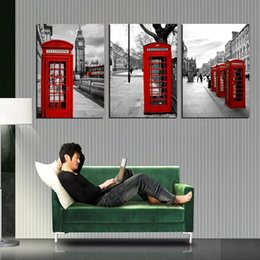 Free Shipping 3 Pieces unframed Canvas Prints sea sandy beach Palm tree windmill grassland London building street Red phone boxes Big Ben