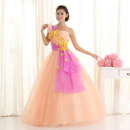 light orange daisy flowers fairy fancy ball gown Medieval Renaissance Gown Victorian Antoinette Belle Ball stage performance