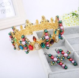 Bridal Wedding Queen Crowns Tiaras & Hair Accessories Luxurious Headband Pageant Fashion 2018 Jewelry Shiny Women Metal Golden Rhinestones