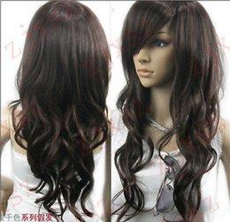 Wholesale cheap Charmant brun foncé longs bouclés perruques synthétiques wig hairnet