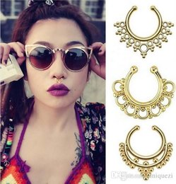 Wholesale Non Piercing Beaded Fake Septum Clicker Nose Ring Hanger Clip On Body Jewelry Style