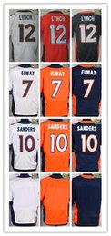 Wholesale NIK Elite Football Stitched Broncos Paxton Lynch Sanders elway Blank White Blue Orange Jerseys Mix Order