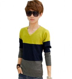 Wholesale The new students v neck sweater base spell color render unlined upper garment unlined upper garment fashion